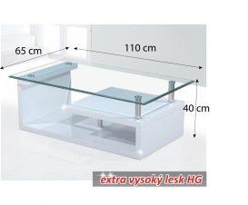 Dohányzóasztal, üveg/fehér extra magas fényű HG, JULIEN
