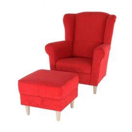 Fotel + puff, piros, ASTRID