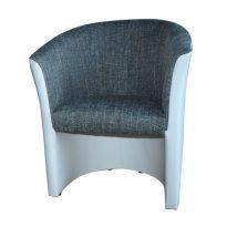 Fotel, fehér textilbőr / szürke szövet, CUBA