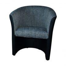 Fotel, fekete textilbőr/zsenília szürke, CUBA