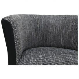 Klub fotel, fekete textilbőr/ szürke szövet, CUBA
