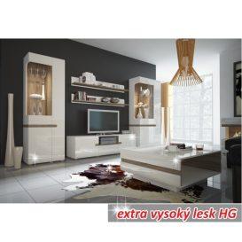 Vitrin, fehér extra magas fényű HG/trufla sonoma tölgy, LYNATET 01