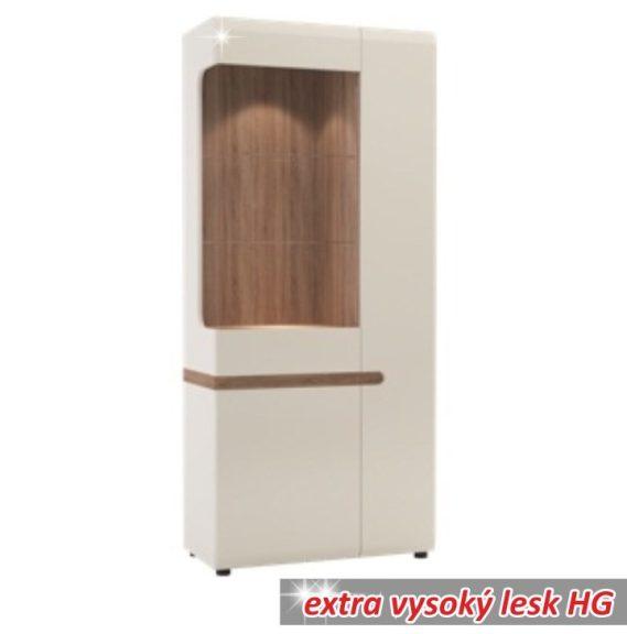 Vitrin, fehér - extra magas fényű HG/trufla sonoma tölgy, LYNATET 05