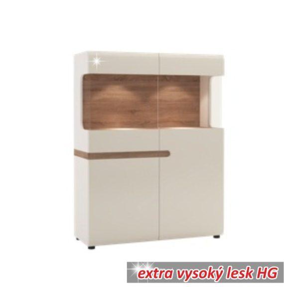 Vitrin, fehér extra magas fényű HG/trufla sonoma tölgy, LYNATET  33