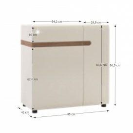 Komód, fehér extra magas fényű HG/trufla sonoma tölgy, LYNATET  34