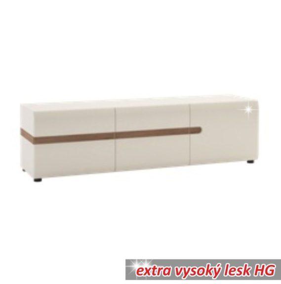 Komód, fehér extra magas fényű HG/trufla sonoma tölgy, LYNATET  51