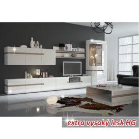 Fali szekrény, fehér extra magas fényű HG/trufla sonoma tölgy, LYNATET  65