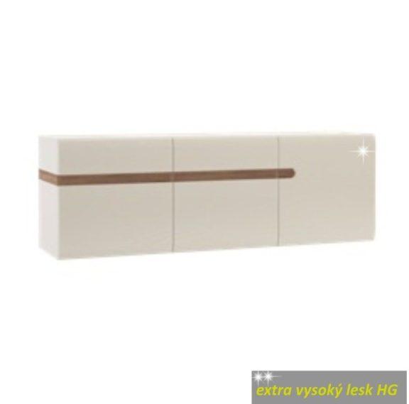 Fali szekrény, fehér extra magas fényű HG/trufla sonoma tölgy, LYNATET  67