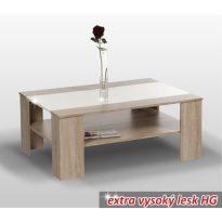 Dohányzóasztal, sonoma tölgy/ fehér extra magas fényű HG, ARIADNA