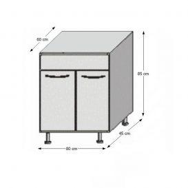 Mosogató konyhaszekrény, rigolletto dark/rigolletto light/wenge, JURA NEW I DZ-80