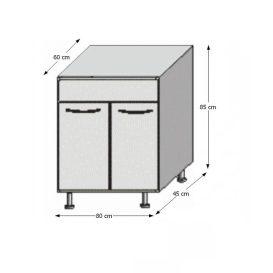 Alsó mosogatószekrény, fehér/wenge, JURA NEW B DZ-80