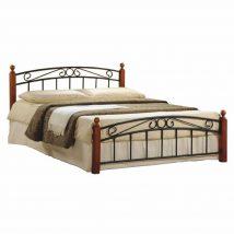 Fém ágy lécezett ráccsal, fém (fekete) +fa (cseresznye), 140x200, DOLORES