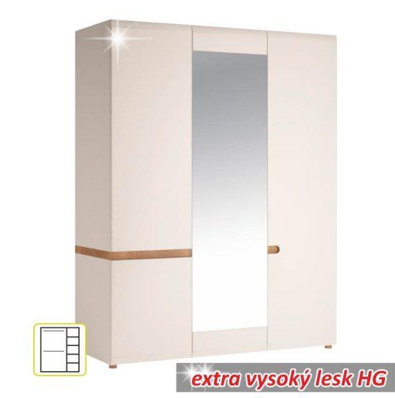 LYNATET 22 Gardrób 3 ajtós Fehér HG/sonoma