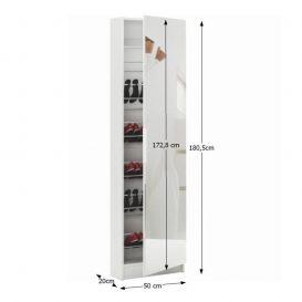 Cipős szekrény tükörrel, fehér, KAPATER 305397