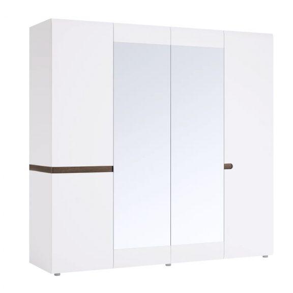 LYNATET 23 Gardrób 4 ajtós Fehér HG/sonoma