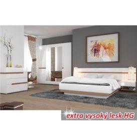 Éjjeliszekrény, fehér extra magas fényű HG/sonoma tölgy sötét trufla, LYNATET TYP 96