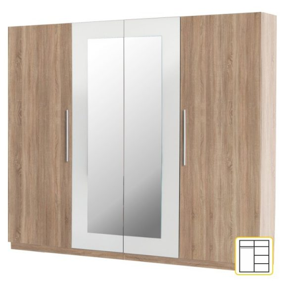 MARTINA Gardrób 4 ajtós Sonoma tölgy/fehér