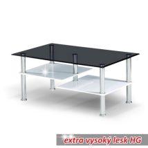 Dohányzóasztal, fehér extra magas fényű HG+ acél + fekete edzett üveg, SVEN