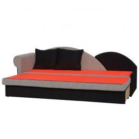 Kinyitható kanapé, szürke/fekete, balos, DIANE