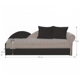 Kanapé ágyfunkcióval és ágyneműtartóval, jobb oldali kivitel, szürke/fekete, DIANE