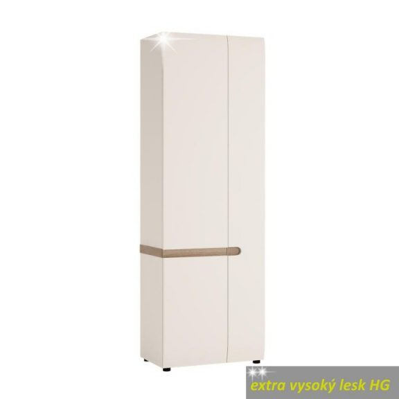Szekrény, fehér, extra magas fényű HG/sonoma tölgy sötét trufla, LYNATET TYP 25