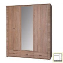 Szekrény tükörrel, 2 típus, sonoma tölgyfa, GRAND