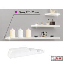 Polc, fehér/fényes, 120x25, GANA