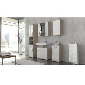 Fürdőszoba kabinet, fehér félig fényes / tölgyfa sonoma, LESSY LI 0