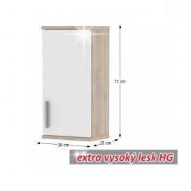 Felső fürdőszoba szekrény, fehér féligfényes / tölgyfa sonoma, LESSY LI 04