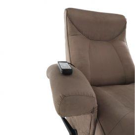 Mechanikusan állítható pihenő fotel, szürkés barna textil, SUAREZ