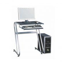 Számítógépasztal, fekete+ezüst, JOFRY