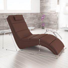 Relax fotel, barna öko bőr, LONG