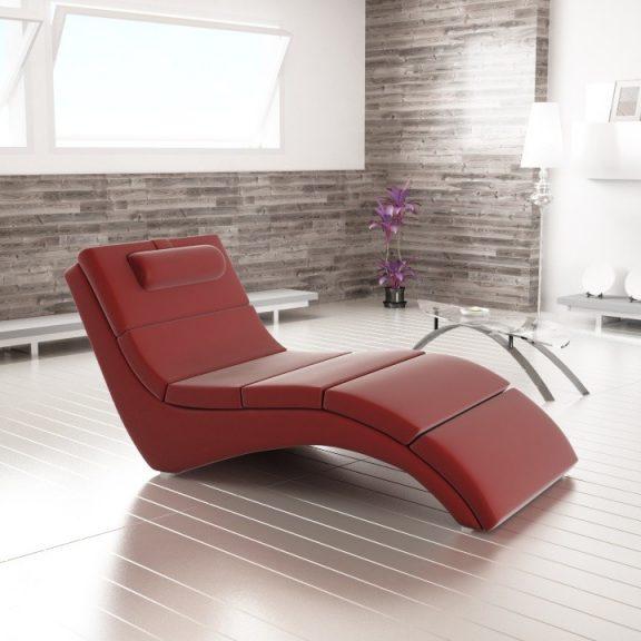 Relax fotel, piros öko bőr, megrendelésre, LONG