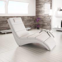 Pihenő fotel, fehér textilbőr, LONG