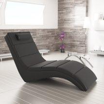 Pihenő fotel, fekete textilbőr, LONG