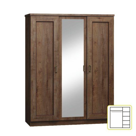 TEDY T15 Gardrób 3 ajtós Lefkas tölgy
