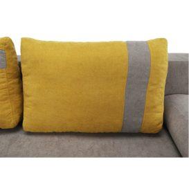 Kinyitható kanapé, szürke-barna/sárga, BOLIVIA