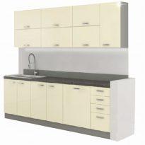 konyhabútor, bézs extra magas fényű/szürke, PRADO