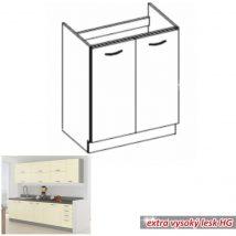 Alsó mosogató szekrény, magas fényű bézs, PRADO 80 ZL 2F BB