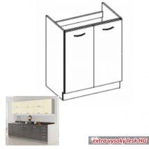 Alsó mosogató szekrény, szürke magas fényű fehér, PRADO 80 ZL 2F BB