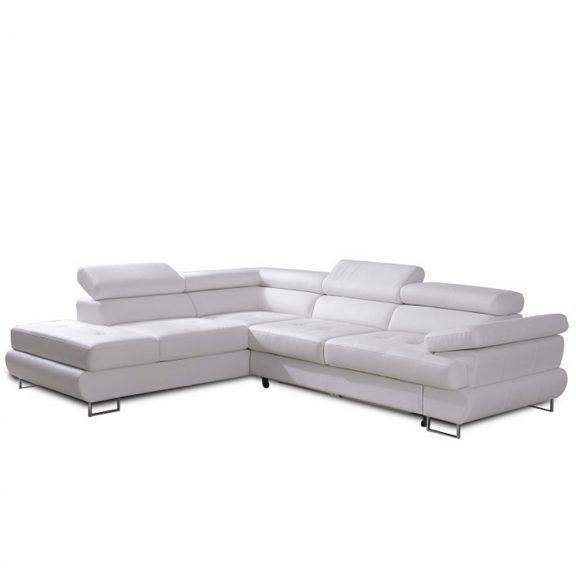 Ülőgarnitúra, fehér textilbőr, balos, BUTON P