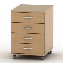 4 fiókos kerekes szekrény + zár, bükkfa, TEMPO ASISTENT NEW 015