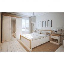 Elegáns elemesbútor alkalmas hálószobába, fehér északi erdei fenyő, ROYAL