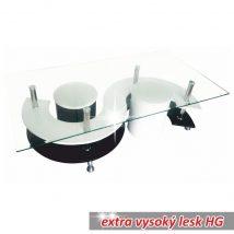 Dohányzóasztal, üveg/króm/ fehér+fekete extra magas fényű HG, RUPERT