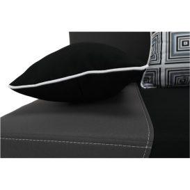 Kinyitható kanapé, szövet fekete/szürke/párnák szürke minta, ROKAR