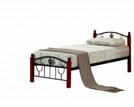 Fém ágy lécezett ráccsal, fém (fekete) +fa, 90x200, MAGENTA