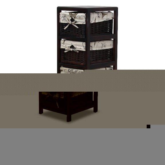 Komód, 5 fonott kosár, sötétbarna/bézs, ELI 2