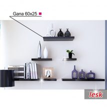 Polc, fényes fekete, 60x25, GANA