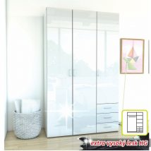 3-ajtós szekrény, fehér extra magas fényű HG, GWEN 70427