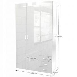 szekrény, 3 - ajtós, fehér extra magasfényű, GWEN 70427